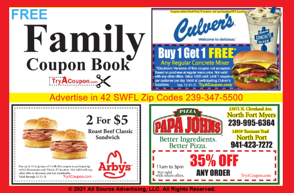 FamilyCouponBook.com Coupon discounts near me. Family Coupon Book published by All Source Advertising. The best advertising and marketing agency in SW FL