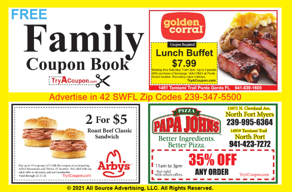 Coupon discounts near me. Family Coupon Book published by All Source Advertising. The best advertising and marketing agency in SW FL